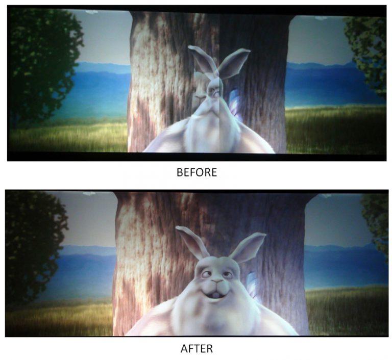Flash projector stitching